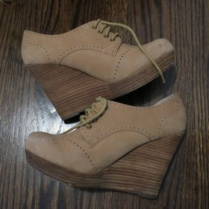 Seychelles oxford lace-up wedge heel, tan suede